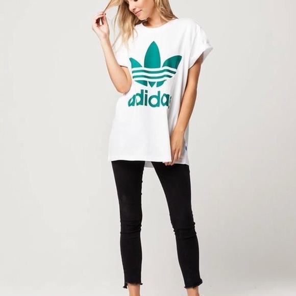 f1b3bffc0d7 adidas Tops | Big Trefoil Oversized Tee | Poshmark